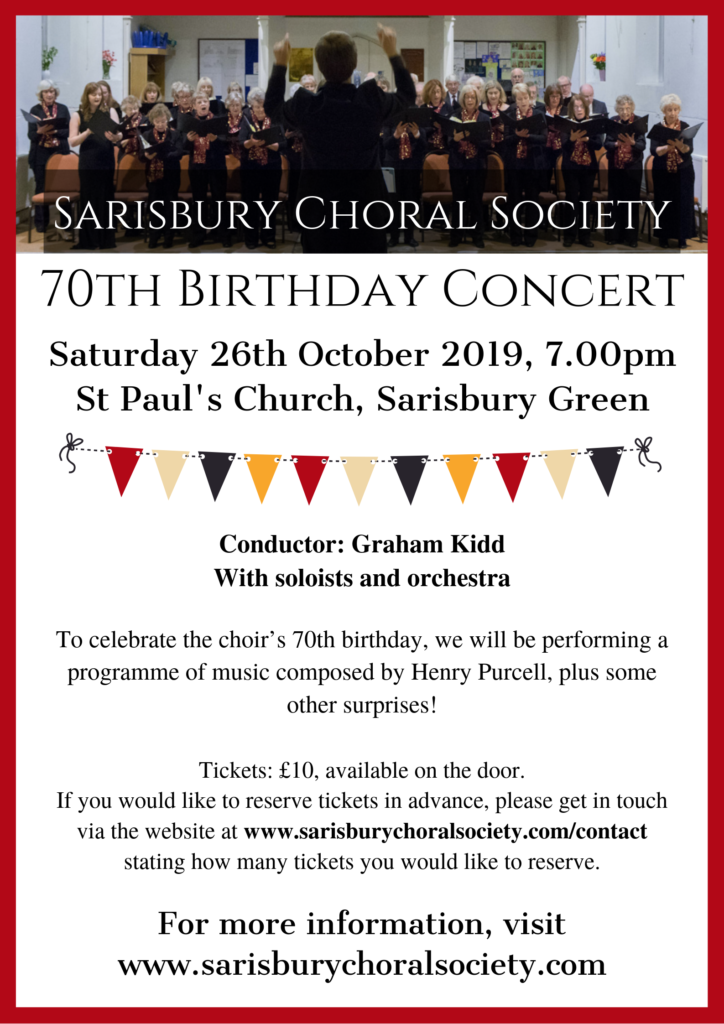 Sarisbury Choral Society 70th Birthday Concert
